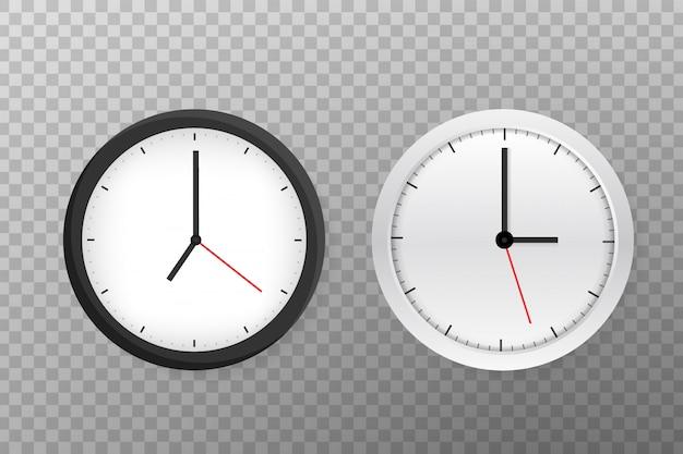 Orologio da parete rotondo bianco e nero classico semplice di vettore.