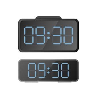 Orologio da scrivania elettronico. orologi moderni per il posto di lavoro. isolato.