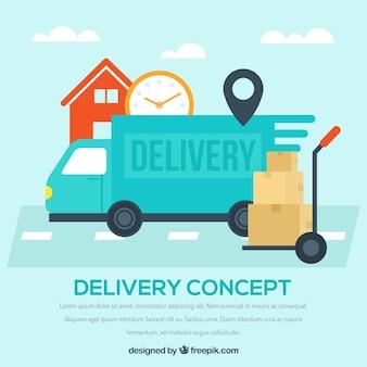 Orologio, scatole e camion di consegna