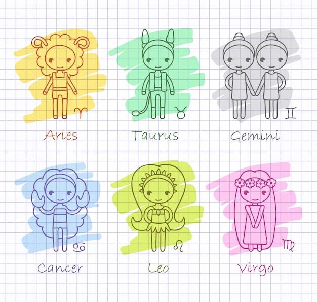 Oroscopo zodiacale con set di ragazze disegnate