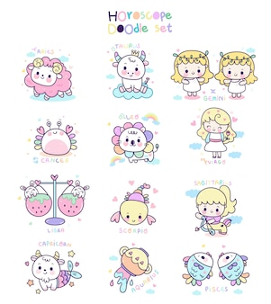 Oroscopo zodiacale set stile doodle