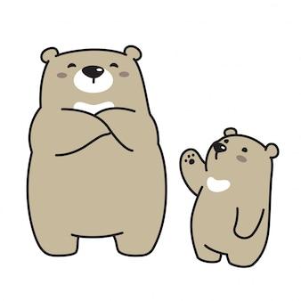 Orsacchiotto dell'icona del fumetto del carattere dell'orso polare di vettore dell'orso