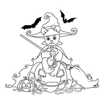 Orsacchiotto in un cappello da strega e mantello con una scopa in mano si siede su una zucca di halloween con gatto nero e pipistrelli.