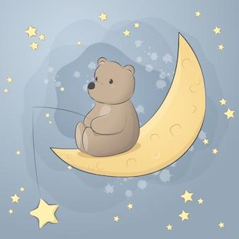 Orsacchiotto sveglio che si siede sulla carta da parati pastello di scarabocchio del fumetto della luna