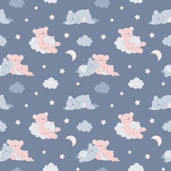 Orsi assonnati seamless pattern