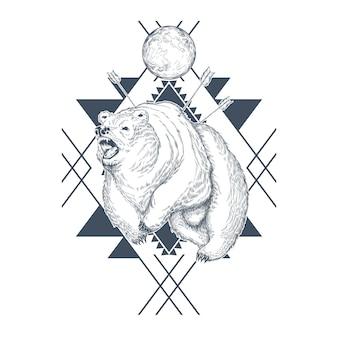 Orso arrabbiato disegnato a mano, pianeta in forme geometriche astratte, bestia ferita da frecce.