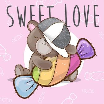 Orso bambino con animale disegnato a mano di caramelle