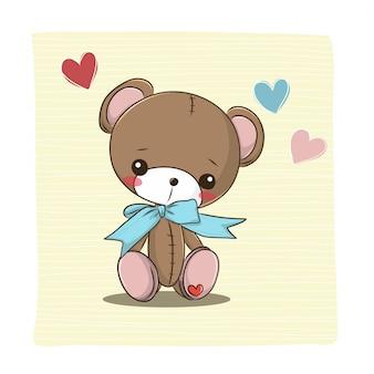 Orso bambola cartone animato carino con cuore