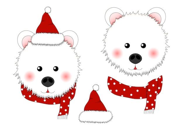 Orso bianco babbo natale con sciarpa rossa a pois.