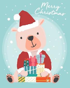 Orso bruno sveglio felice indossa l'attrezzatura di babbo natale che tiene i contenitori di regalo presenti con la caduta della neve