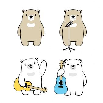Orso cantante polare fumetto di musica per chitarra