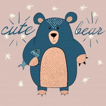Orso carino con illustrazione di pesce. idea per t-shirt stampata.