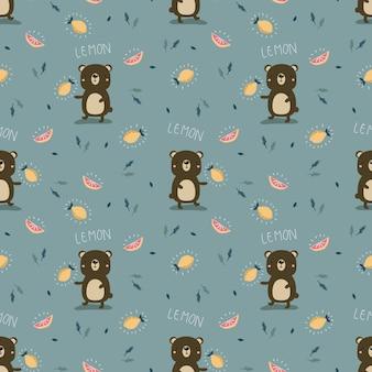 Orso carino e seamless pattern di limone.