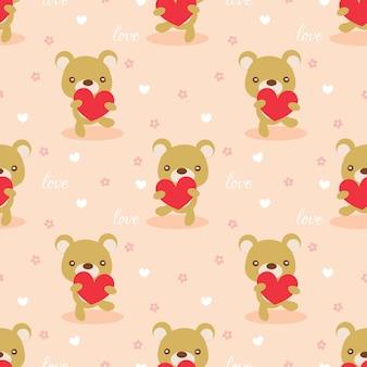 Orso carino tenere un cuore senza cuciture.