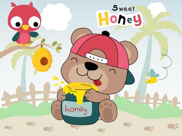 Orso cartone animato che abbraccia vaso barattolo con un gufo