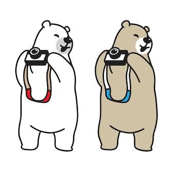 Orso cartone animato di fotocamera orso polare vettoriale
