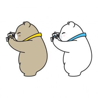 Orso con cartoon macchina fotografica