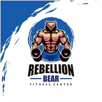 Orso con corpo forte, fitness club o logo palestra. elemento di design per logo aziendale, etichetta, emblema, abbigliamento o altra merce. illustrazione scalabile e modificabile