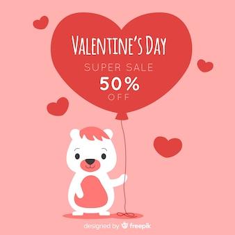 Orso con palloncino san valentino sfondo di vendita