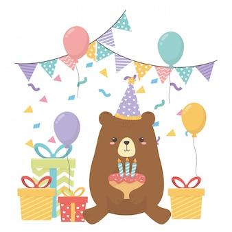 Orso dei cartoni animati con buon compleanno