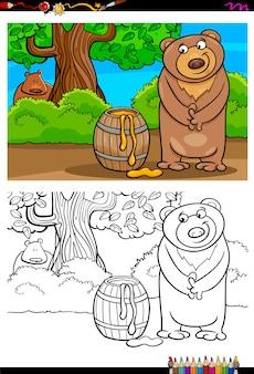 Orso dei cartoni animati con libro da colorare miele