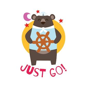Orso del marinaio del fumetto sveglio per la serie di modelli della progettazione della maglietta dei bambini