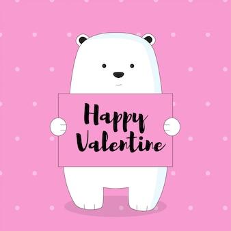 Orso di ghiaccio con la cartolina di san valentino