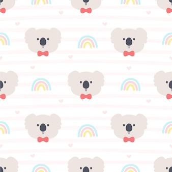 Orso di koala sveglio e fondo senza cuciture dell'arcobaleno