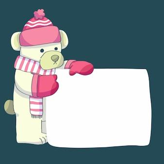 Orso di natale che indossa abiti invernali e che tiene bandiera in bianco