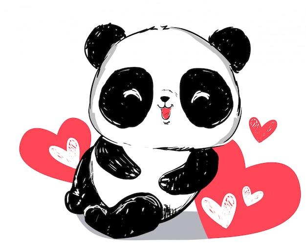 Orso di panda sveglio disegnato a mano e cuore rosso isolati.