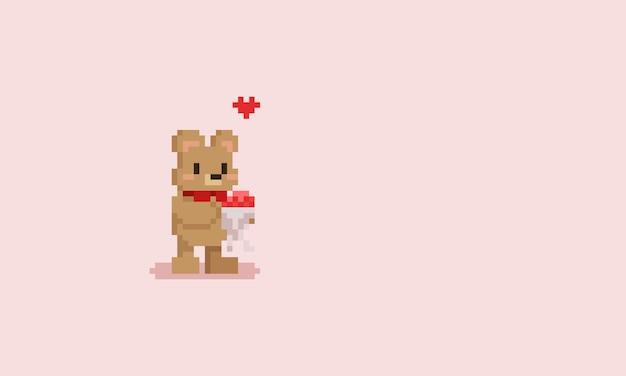Orso di pixel con bouquet di fiori. san valentino.