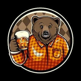 Orso distintivo di birra vettoriale