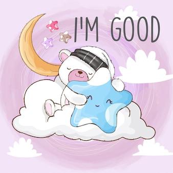 Orso dolce che dorme su un animale-vettore disegnato a mano della nuvola