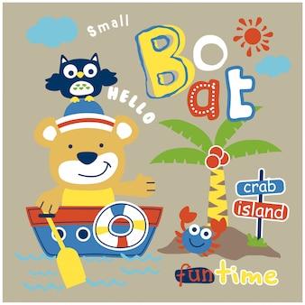 Orso e gufo sulla piccola barca divertente cartone animato animale, illustrazione vettoriale