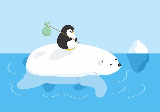 Orso e pinguino in viaggio
