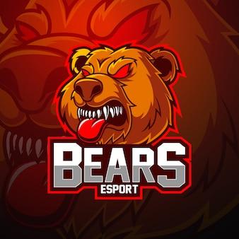 Orso esport logo design della mascotte