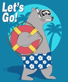 Orso freddo che va in spiaggia