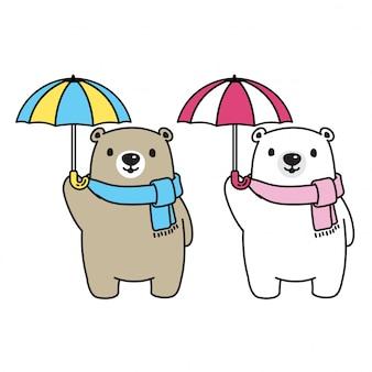 Orso icona dell'orso polare vettoriale