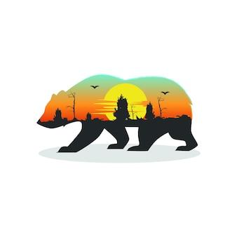Orso illustrazione tramonto logo download