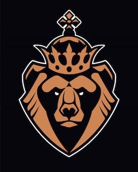 Orso in corona mascotte