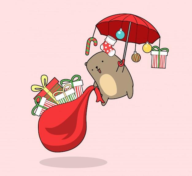 Orso kawaii e regali volano