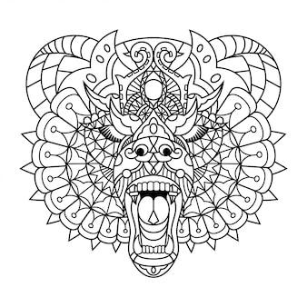 Orso mandala zentangle stile lineare