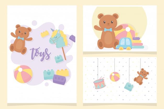 Orso palla tamburo bastone cavallo appendere cartone animato giocattoli per bambini carte