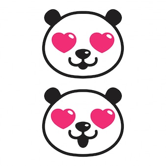 Orso panda cuore dei cartoni animati