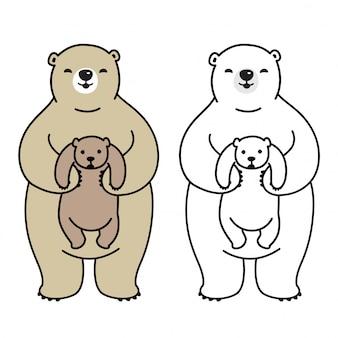 Orso personaggio dei cartoni animati di orso polare vettoriale