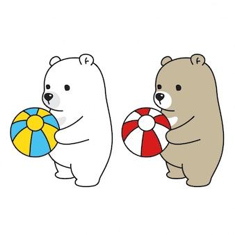 Orso personaggio dei cartoni animati palla orso polare vettoriale