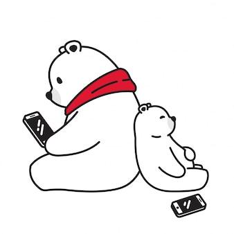 Orso personaggio dei cartoni animati tablet smartphone orso polare