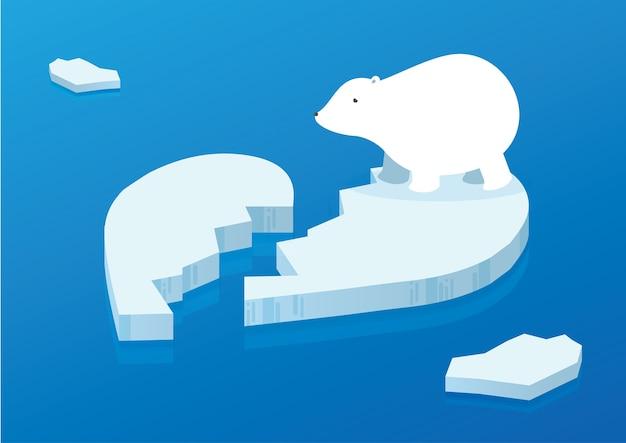 Orso polare bianco sull'oceano dell'iceberg