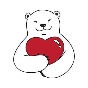 Orso polare cartone animato abbraccio cuore