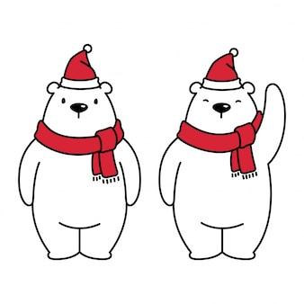 Orso polare cartone animato di natale